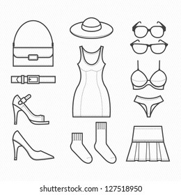 Women Clothing Icons with White Background : NO.2
