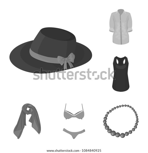 Women Clothing monochrome icons in set collection for design.Clothing Varieties and Accessories vector symbol stock web illustration.