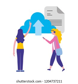 women cloud computing data upload document
