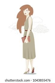 Women with clutch. Vector illustration. Fashion illustration