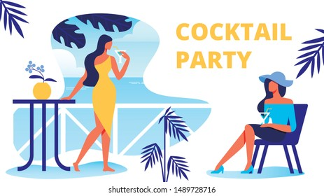 Women with Cocktails on Terrace near Sea. Cocktail Party. Vector Illustration. Silhouette Yellow Dress Case. Terrace with View to Sea. Happy Holiday. Summer Enjoy. Summer Fashion Look. Look at Sea.