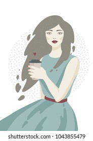 Women with coffee. Vector illustration