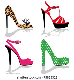 Women colorful shoes collection, isolated on white, full scalable vector graphic for easy editing and color change.