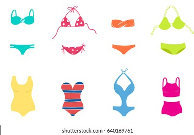Women colorful swimsuit design set. Fashion bikini, tankini and monokini collection. Female stylish swimwear. Flat beach clothing underwear