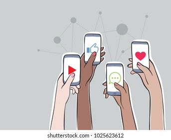 Women Connection - Trending Topics on Social Media Women on social network. Hands holding smartphones with apps icons. Online communication and connection