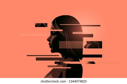 A women coping with stress, mental health. Mindfulness concept vector illustration.