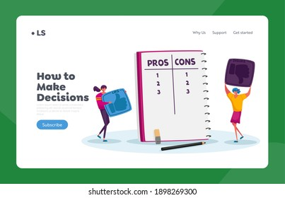 Women Count Advantages or Disadvantages Landing Page Template. Tiny Female Characters Make Decision at Notebook with Pros or Cons List in Separated Column, Cartoon Vector Illustration