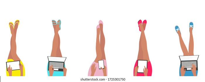 women in cute colourful short skirts legs sitting with shoes on feet hands using laptop computer smartphone and tablet relaxed remote work from home concept