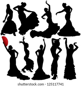 Women dancing flamenco and salsa vector silhouettes set. Layered. Fully editable.