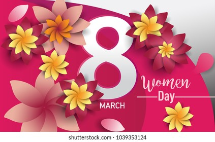 Women Day 8 March text lettering on flowers pattern background for greeting card, invitation card. women day celebration.