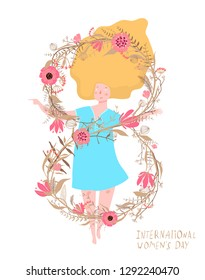 Women Day 8th of March Woman and Flowers. Flowers 8th of March number spring girl design.