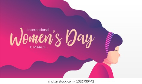 Women day background banner. Beauty Girl with blowing red hair