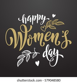 Women Day greeting card text calligraphy and hearts. Lettering for 8 March Woman holiday premium black background.
