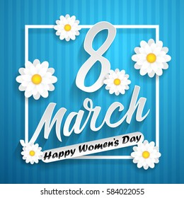 Women day lettering on blue background with flowers. 8 march. Vector illustration