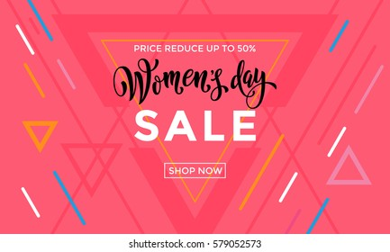 Women Day Sale banner for online shop on triangle pattern background. 8 March text lettering.