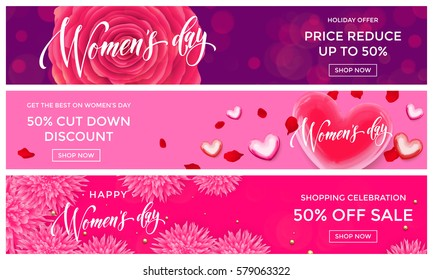 Women Day sale shopping web banner vector gold glitter templates. Golden hearts and flowers discount percent offer for premium luxury online shopping promo celebration on 8 March.