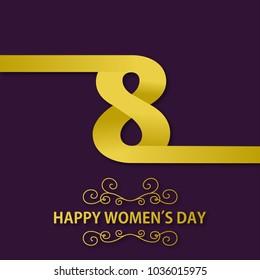 Women day typogrpahic greetings card with dark purple background
