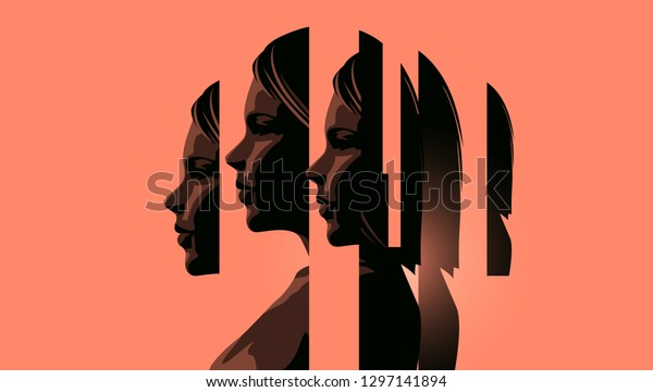 A women dealing with mental heath issues showing the different faces of dealing with personal issues. Anxiety, depression and mindfulness awareness concept. Vector illustration.