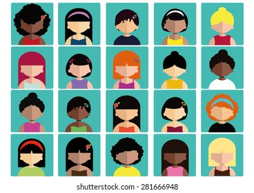 Women Different Faces Flat icons vectors