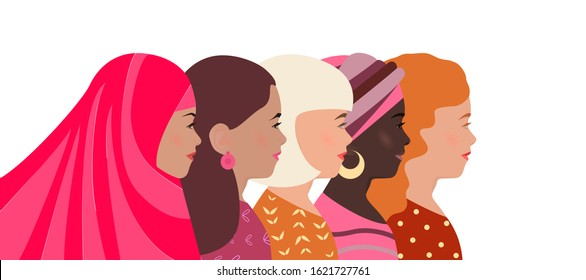 Women of different nationalities, faith and skin color together. Greeting card, banner International Women's Day. Struggle for womens rights and equality. Template poster, flyer. Diverse pretty girls