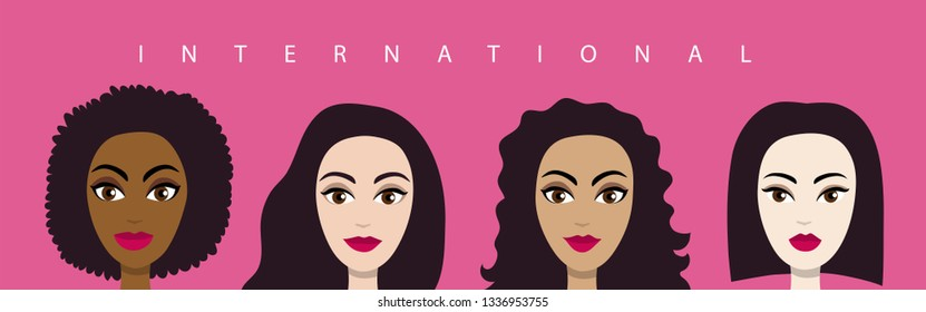 Women of different nationalities and skin color. Banner in the style of flat design on the International theme. Concept. Beautiful, fashion. March 8 - women's rights Day and femininity day. Vector.