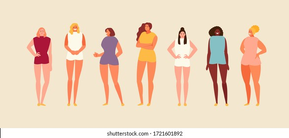 Women of different physique, nationality and appearance. Vector characters set
