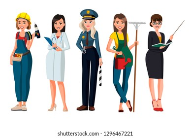 Women different profession character vector design .Cartoon realistic people illustration. Flat young woman. Woman worker. Builder, doctor, nurse, police, cop, officer, policewoman, gardener, teacher