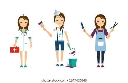 Women of different professions set, doctor, painter, hairdresser vector Illustration on a white background
