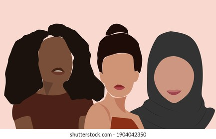 Women with different skin colors together. A minimal portrait of two girls. Vector illustration