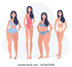 Women of different weigh, figure type. Body positive movement and beauty diversity. Flat vector illustration on a white background.