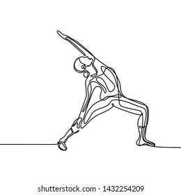 Women do yoga poses. Continuous line