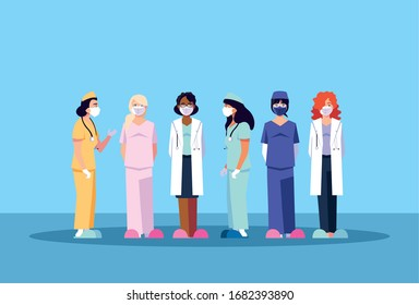 women doctors standing, medical team vector illustration design