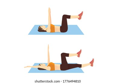Women doing Dead bug workout on blue mat in 2 step. Exercise pose for runner which target on spine, obliques, abdominal muscles.