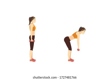 Women doing dumbbell deadlift workout in 2 steps to target lower body resistance training. Illustration about easy Fitness during stay at home.