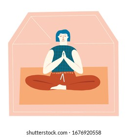 Women doing meditation, stay in peaceful mind state at home in self isolation quarantine during coronavirus epidemic illustration.