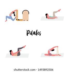 women doing pilates - a concept illustraion of pilates