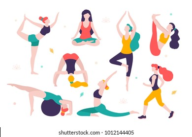 Women doing sports. Different poses of yoga, exercises for healthy lifestyle. Slim girls vector flat illustration. Workout in the gym and park.