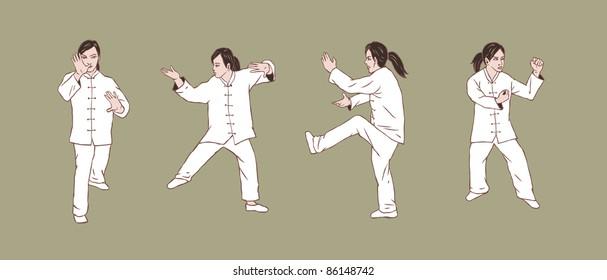 Women doing Taichi kungfu