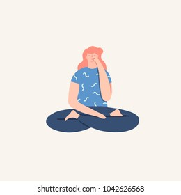 Women doing yoga breathing exercise pranayama. Wellness illustration in vector.