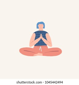 Women doing yoga breathing exercise illustration in vector. Healthy lifestyle theme.