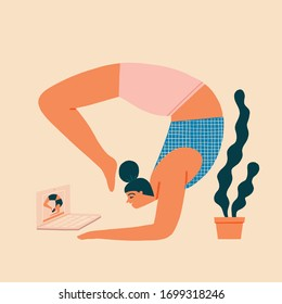 Women doing yoga exercise at home, education online illustration in vector. Home activities during quarantine isolation period.