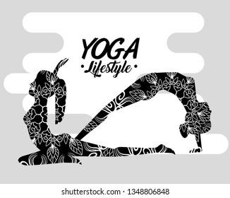 women doing yoga pose exercise