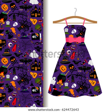 a3f87d1d5fc Women dress fabric pattern design on a hanger with colorful halloween  symbols. Vector illustration