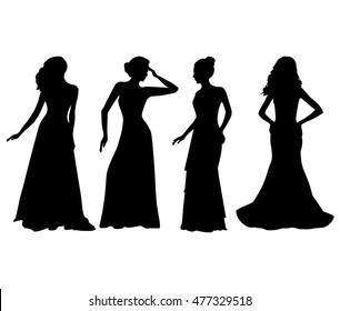 Women in dress silhouettes isolated on white background. Vector illustrations set.