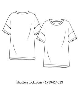 Women Drop Shoulders Tunic Top fashion flat sketch template. Girls Short Sleeves Tee Technical Fashion Illustration