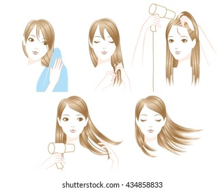 Women to dry the hair