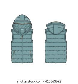 Women Duck Egg Blue Puffer Vest Template