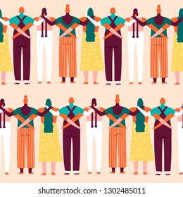 Women empower women illustration collection. International womens day 8 of march seamless pattern in vector. Feminist illustration concept.