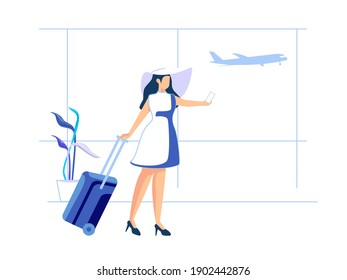 Women enjoy vacations and adventures by taking pictures. Female character concept in flat style. Vector illustration.