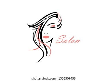 Women face, hair salon logo vector